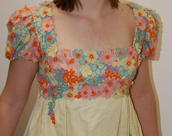 VINTAGE Floral Bust Applique Yellow Floor Length Chicago Debutant Dress 1960s.