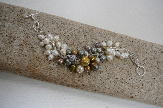 Freshwater Pearl Bracelet, Mixed Neutral Colors, More Than 40 Pearls