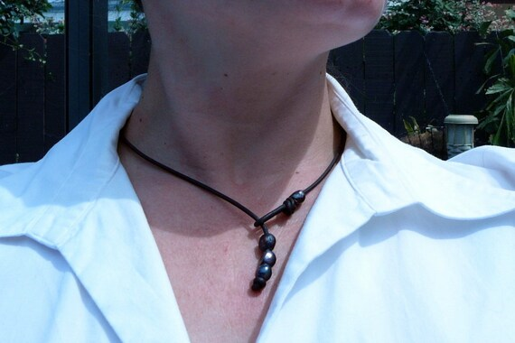 Leather and Pearl Lariat Necklace, Iris Colored Flat Backed Potato Pearls on Chocolate Brown Leather Cord, Gift  Boxed