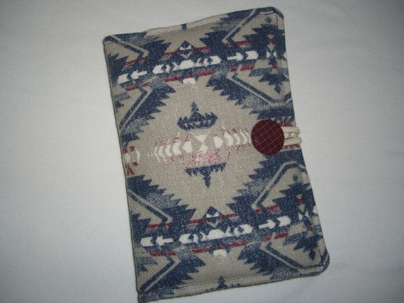 SALE - Recycled Padded Indian Design Jacket Kindle Fire Case Cover - Blue, Maroon, Cream & White