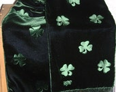 Shamrock Scarf Embossed Green Velvet and Black Watch Plaid