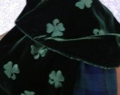 St Patrick's Day  Irish Shamrock Scarf Embossed Green Velvet and Black Watch Plaid