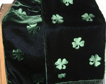 Irish Shamrock Scarf Embossed Green Velvet and Black Watch Plaid