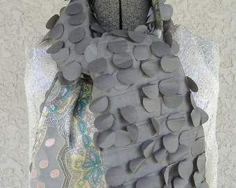 Woman's Scarf Gray Silk and Paisley Print