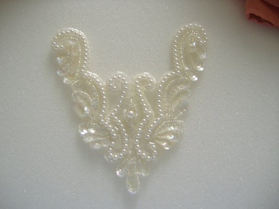Beaded Applique Embellishment for Wedding, Formal, Prom, Evening Wear