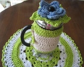 Coffee Pot Cozy,French Press Cozy Topped with Colorful Removable Flower