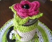 French Press Coffee Maker Cozy, Crochet Flower Lid, Coffee Pot Cozy