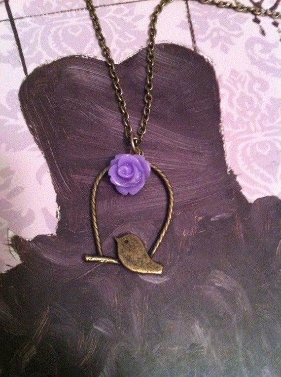 Swinging Song Bird Necklace with dainty flower (pick your color flower)