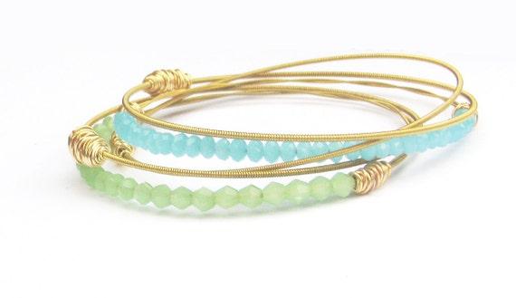 Bangle Bracelet Stack // Set of 5 Bracelets // Gold, Mint Green, Aqua Blue Swarovski Crystals // Eco-Friendly Jewelry // Bridesmaid Gift