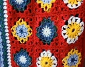 Granny Afghan Throw Blanket with Daisy design in Deep Red multicolored FREE SHIPPING