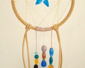 Beautiful Blue Colorado Columbine Dreamcatcher With Beaded Tails