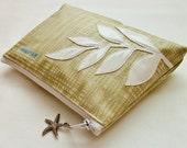 Make Up Bag Cosmetic Case - Vinyl Leaf Appliqué - Floral Print Lining