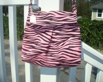 pink zebra cotton bag
