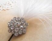 Feather and Rhinestone Hair Pin, bridal white, sparkly rhinestone cluster, bride bridesmaids flower girls.
