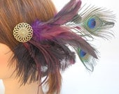 Purple Feather Fascinator Hairpiece with peacock eyes and ostrich feathers- purple, green, blue, hair clip.