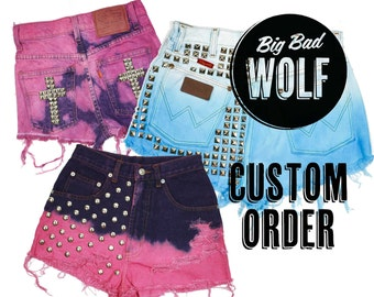 CUSTOM ORDER - Heavily Studded &/or Bleaching and Dying, Denim Cutoff Shorts