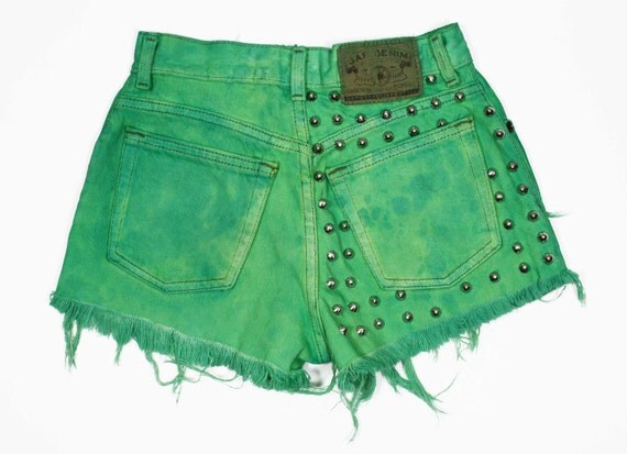 High Waisted, Dyed Hyper Vibrant Green, Conical Studded Denim Cutoff Shorts