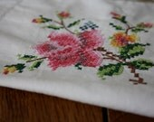 Vintage Tablecloth - Floral Embroidered Linens Table Cloth - Square - White Pink Green - Cross Stitch - Country Cottage Chic English