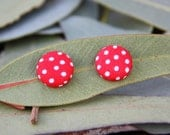 Red and white spotty fabric covered button earrings