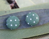Green and white spotty spotted dotty fabric covered button earrings