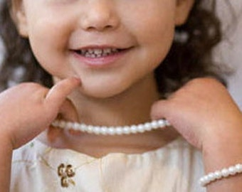 Flower Girl Gift Pearl Bracelet & Necklace SET, Flower Girl Jewelry, Jr Bridesmaid, Little Girls 1st Pearls - FREE Gift Packaging