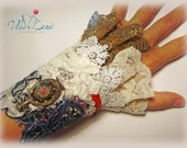 SPIRIT of PICASSO-3 Vintage Inspired Applique Cuff Bracelet Lace Fabric
