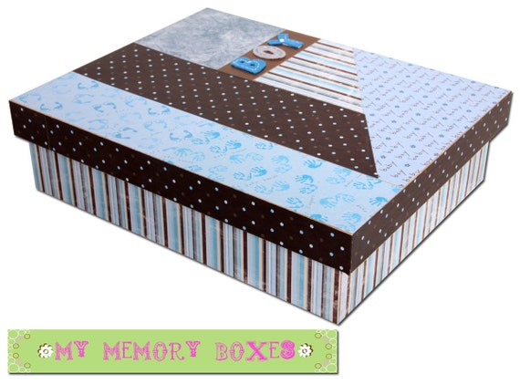Baby Boy  Memory or Keepsake  Box -Decoupage Wooden Box in Lt Blue/Brown Can create a custom box as well