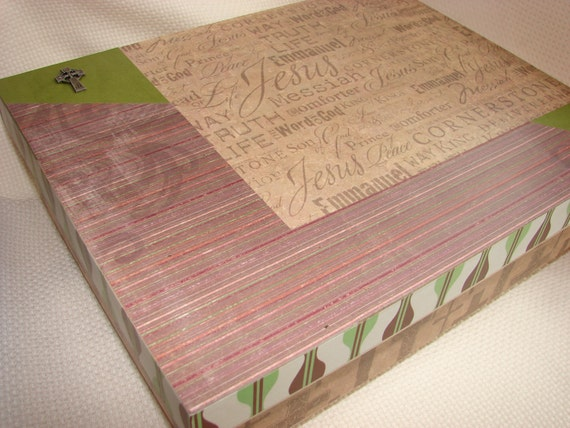 "Christian Memory or Prayer Box - Decoupaged Wooden Box with ""Jesus"", ""Messiah"", etc.,  and the Lord's Prayer"