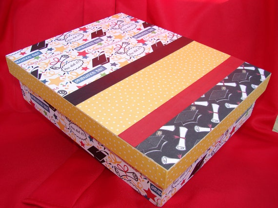 Graduation Memory or Keepsake Box. Wooden Decoupaged box for High School Keepsakes