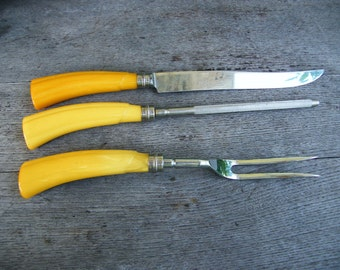 Bakelite handle Carving Set Sheffield Blade Sharpening Rod and Fork