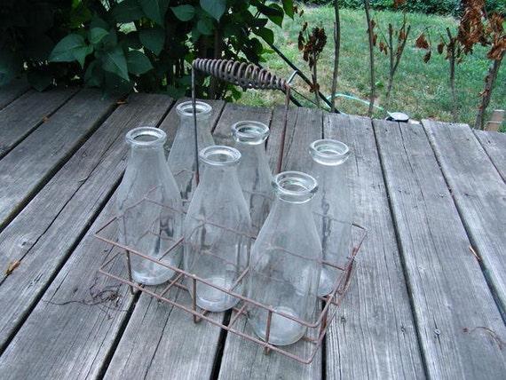 Six Antique 1QT Glass milk bottles in Primitive Wire Carrier