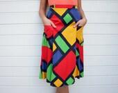 Vintage Harlequin Pattern Primary Colors Midi Skirt