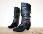 Vintage 80s Three Tone Pull Up Slouchy Leather Boots Size 7.5