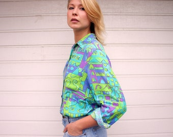 Vintage Long Sleeve Abstract Electric Shirt Blouse