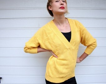 Vintage Knitted V Collar Lemon Yellow Sweater