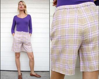 Vintage Pastel Lavender Plaid Linen Shorts