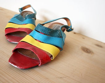 Vintage Colorblock Faux Reptile Leather Slingback Low Heel Sandals