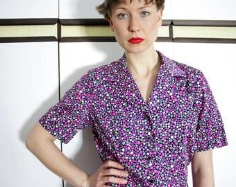Vintage Multicolor Dots Button Down Shirt Blouse