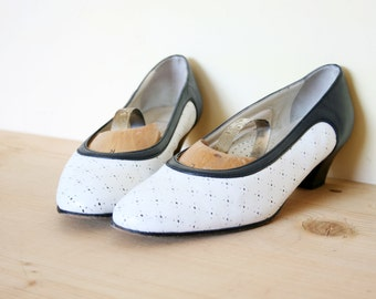 Vintage Navy and White Perforated Leather Shoes Cutout High Heel Pumps
