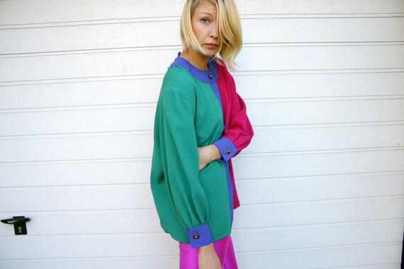 Vibrant 80s Vintage Longsleeve Colorblock Blouse