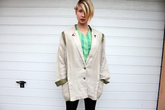 Vintage Rustic Linen Plus Size Jacket