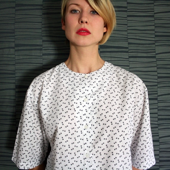Vintage Black and White Little Squares Pattern Blouse