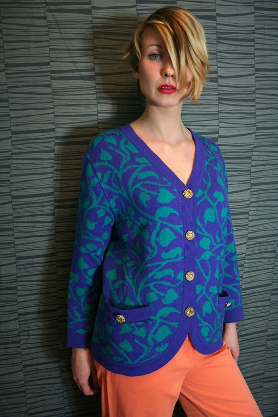 Vintage Purple and Turquoise Poison Ivy Knit Cardigan