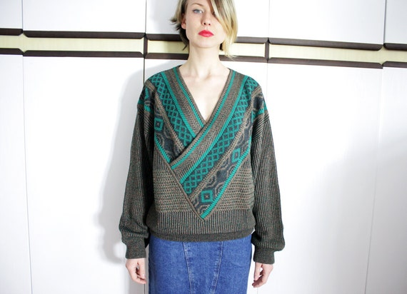 Vintage Deep V Neck Mixed Print Batwing Sweater