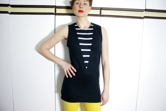 Navy Striped Vintage Long Knit Tank Top Medium