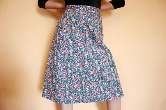 Vintage Cotton Floral A Line Skirt