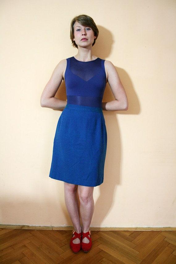 Vintage Blue Tweed High Waist Pencil Skirt