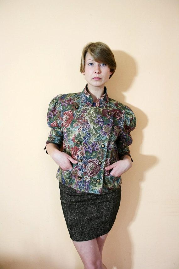 Vintage 80s Puff Sleeves Floral Metallic Brocade Tapestry Cropped Blazer Jacket