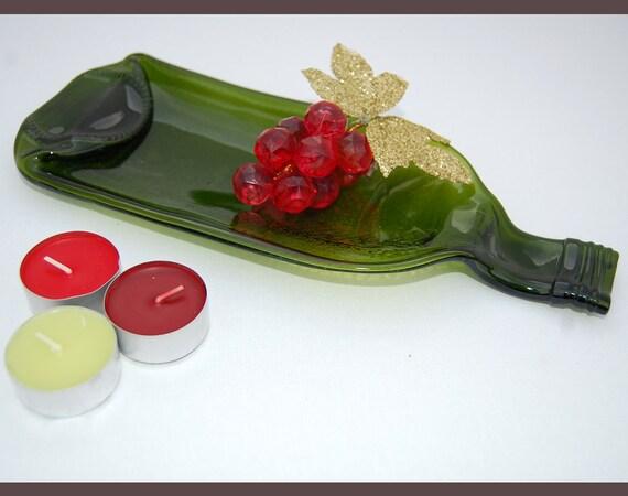 Plate /  Slumped Bottle / Flattened Bottle /  Upcycled Wine Bottle Snack Plate / Spoonrest