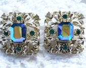 SALE - vintage costume jewelry earrings : antique clip silver blue and green earrings aurora borealis crystal great for retro bride
